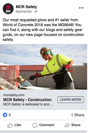 construction page facebook ad